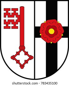 Coat of arms of Soest is a district in the middle of North Rhine-Westphalia, Germany. Vector illustration