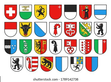 Coat of arms of Switzerland and Swiss cantons, vector heraldry. Heraldic shields with emblems of Zurich, Bern, Lucerne and Geneva, Uri, Schwyz, Obwalden and Nidwalden, Glarus, Zug and Fribourg