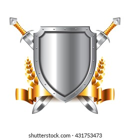 Coat of arms with swords isolated on white photo-realistic vector illustration