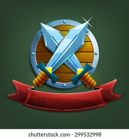 Coat of arms with swords and shield. Vector illustration.