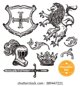 Coat of arms symbols black icons set with heraldic animals and knights weapon doodle vector isolated illustration