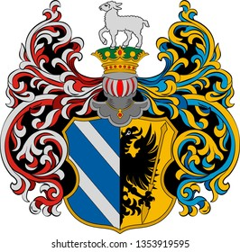Coat of arms of Szeged is the third largest city of Hungary and county seat of Csongrad county. Vector illustration