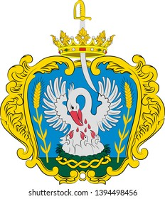 Coat of arms of Szolnok is the county seat of Jasz-Nagykun-Szolnok county in central Hungary. Vector illustration