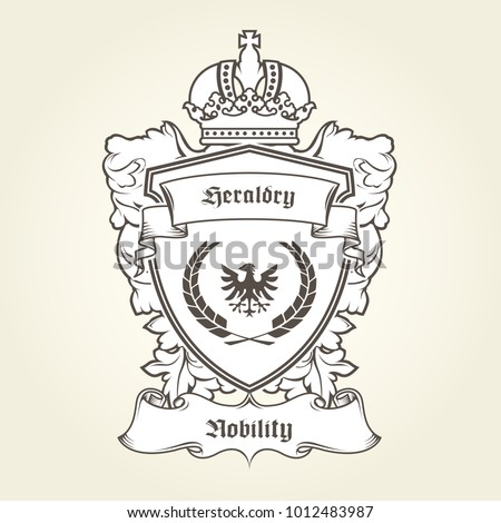 coat arms template heraldic eagle shield stock vector royalty free