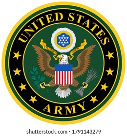 Coat of arms of United States Army (USA) is the land warfare service branch of the United States Armed Forces. Vector illustration
