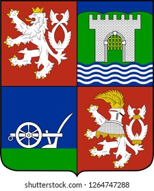 Coat of arms of Usti nad Labem Region is an administrative unit of the Czech Republic. Vector illustration
