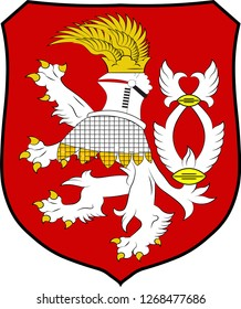 Coat of arms of Usti nad Labem is the 7th-most populous city of the Czech Republic. Vector illustration