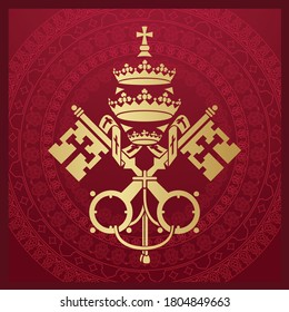 Coat of arms of Vatican City State and the Holy See symbol emblem flag, crossed keys and tiara simple golden vector illustration.