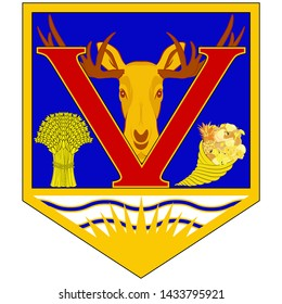 Coat of arms of Vernon is a city in the Okanagan region of the Southern Interior of British Columbia, Canada. Vector illustration