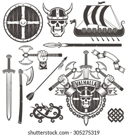 The coat of arms of the Vikings. Logo of Valhalla. The emblem with skull in a horned helmet, ax, sword and shield. Set warrior items. Drakkar. The hand with an ax.