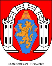 Coat of arms of Vukovar is a city in eastern Croatia. Vector illustration