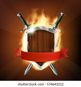 Coat of arms, a wooden shield with swords and ribbon on fire. Stock vector illustration.