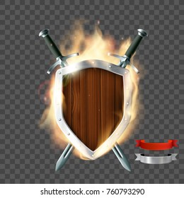 Coat of arms, a wooden shield with swords and ribbon on fire. Isolated on a transparent background. Stock vector illustration.