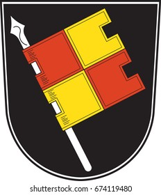 "Coat of arms of Wurzburg is a city in the region of Franconia, northern Bavaria, Germany. Vector illustration from the ""Heraldry of the World"" authors and compilers Olga Bortnik, Ivan Rezko, 2008"