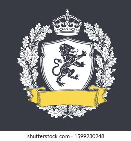 Coat of arms with yellow colored ribbon. Ribbon with blank copyspace. Emblem shield with crown and oak wreath and heraldry lion. Vector illustration