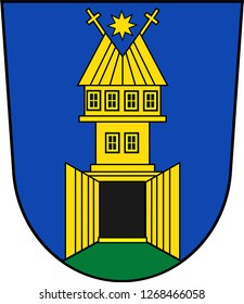 Coat of arms of Zlin is a city in southeastern Moravia in the Czech Republic. Vector illustration