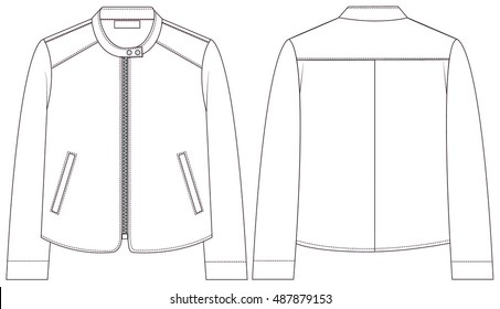 Coat female with long sleeves and pockets. vector