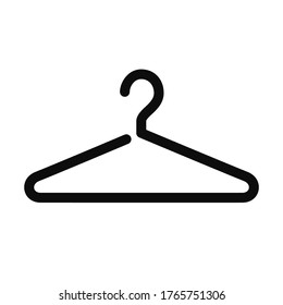 Coat hanger black icon isolated on white background. High quality vector fashion clothes hanger