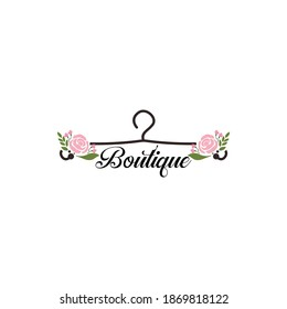 Coat hanger concept with flowers for a boutique logo template.