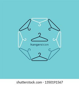 Coat Hanger. Line style hanger icon. Sign, symbol, label for clothing store, fashion industry. Vector graphic print.