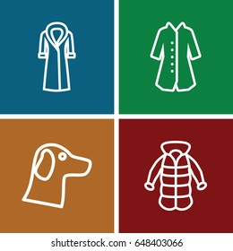 Coat icons set. set of 4 coat outline icons such as overcoat