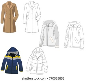 coat and sketch of coat and jacket