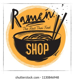 Coated poster Cardboard plate of Asian Soup Ramen. Charcoal lettering