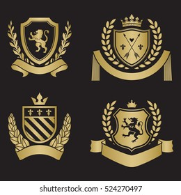 Coats of arms - shields with crown, arrows, laurel wreath at the sides. Based on and inspired by old heraldry. gold color on black background