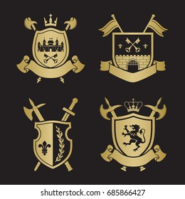 coats arms shields crown town halberds stock vector royalty free