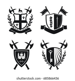 Coats of arms - shields with fleur-de-lys, town, halberds at the sides. Based on and inspired by old heraldry. black color on white background
