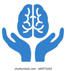 Cobalt Brain Care Hands interface toolbar icon. Vector pictogram style is a flat symbol on diagonal hatch transparent background.