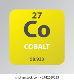 Cobalt Co Transition metal Chemical Element vector illustration diagram, with atomic number and mass. Simple flat design for education, lab, science class.