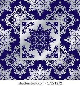 cobalt and silver seamless floral design that wouldmake an ideal background
