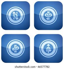 Cobalt Square 2D Icons Set: Arrows & Directions