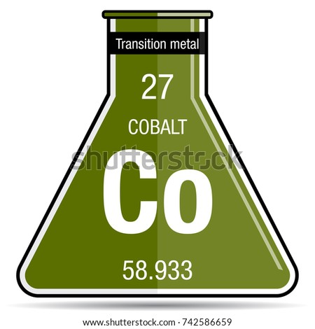 Cobalt Symbol On Chemical Flask Element Stock Vector Royalty Free