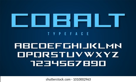 Cobalt vector decorative font design, alphabet, typeface, typography, letters and numbers. Swatch color control.