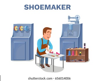 Cobbler cartoon character repairing shoes with shoemaker tools c