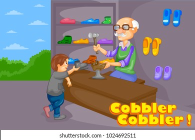 Cobbler Cobbler, Kids English Nursery Rhymes book illustration in vector