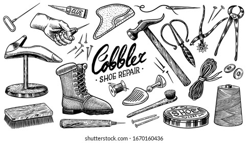 Cobbler set. Professional equipments for Shoe repair. Shoemaker or bootmaker. Cream Hammer Awl Brush Thread Glue Shoe and Calligraphic lettering. Hand drawn engraved old sketch for label or poster.