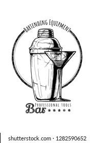 Cobbler shaker and cocktail glass.  Logo label Illustration of Bar professional tools in vintage engraved style.