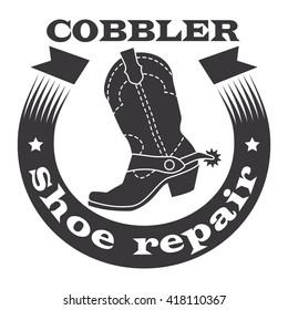 Cobbler, shoe repair. Cowboy boots with spurs, ribbon. Vector illustration.