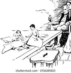 Cobbler, this scene shows two children doing something on paper and sitting on table, seizer on table, old man and woman looking at them, old man sits on chair and smoking, vintage line drawing