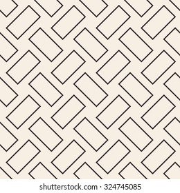 Cobbles grid texture. Stripped geometric seamless pattern. Modern repeating stylish texture. Flat minimalistic texture on beige background. Vector