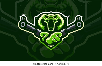 Cobra head holding two gun, tactical team, Airsoft gun or Paintball club logo. Design element for company logo, label, emblem,apparel or other merchandise. Scalable and editable Vector illustration
