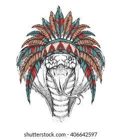 Cobra in the Indian roach. Indian feather headdress of eagle. Hand draw vector  illustration