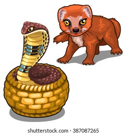 A Cobra and a mongoose. Vector illustration.