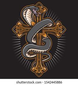 cobra snake with gold cross vector