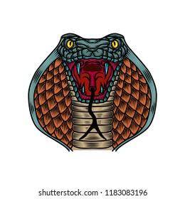 Cobra snake illustration in old school tattoo style. Design element for logo, label, sign, poster, t shirt. Vector illustration