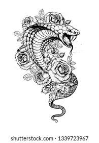 Cobra snake and roses flowers hand drawn illustration. Tattoo vintage print. Hand drawn floral print. Tattoo  sketch design.