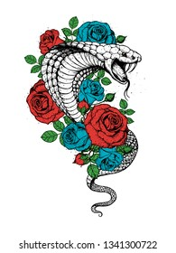 Cobra snake and roses flowers hand drawn illustration. Tattoo vintage print. Hand drawn floral print. Tattoo design.